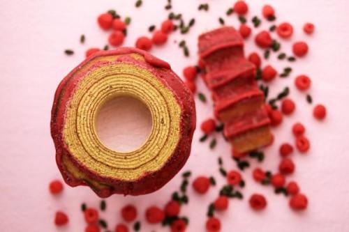 ピスタチオと木苺のバウムクーヘン