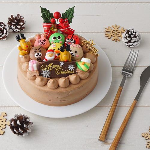 クリスマス2021 動物マカロンのチョコ生クリームXmas 動物マカロン6個付き 5号 15cm