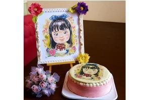 プロの似顔絵師によるイラストケーキ サークル 5号 15cm