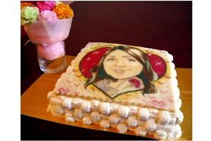 プロの似顔絵師によるイラストケーキ スクエア 5号 15cm