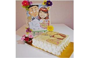 プロの似顔絵師によるウェディングイラストケーキ 5号 15cm