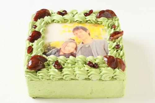 写真ケーキ抹茶 Sサイズ 15cm×15cm