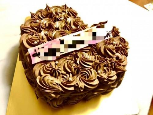 バレンタイン・フラワーチョコレートケーキ ハート 5号 15cm