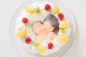 生クリームデコレーションケーキ 写真プレート付き 5号 15cm